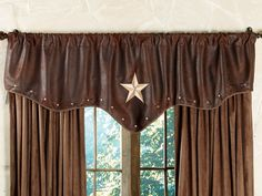 Starlight Trails Chocolate Star Valance from Lone Star Western Decor | Stylish Western Home Decorating