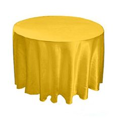"""120"""" round satin table cloth.it is perfect for banquet tables.#wedding #tablecloth #tablecloths #satin #beautiful #yellow #weddings"""