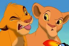 In the Lion King when Zazu tells Simba and Nala that they are gonna be married. They both act with disgust but there is a brief moment when Nala looks at Simba maybe giving a hint at her true feelings. Watch The Lion King, Old Disney, Disney Love, Disney Magic, Hipster Disney, Comedy Movies 2014, Simba E Nala, Lion King 4, Gatos