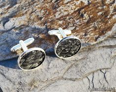 Round fish leather cuff links black tilapia leather by BerlinGlam