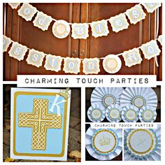 Baptism / First Communion / Christening Pary In A Box by Charming Touch Parties. Blue, gold and ivory. Boutique 3 piece kit. by CharmingTouchParties on Etsy