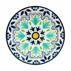 Bobby Flay Medallion Melamine Dinner Plate - This will match my Fiestaware Pottery Painting, Ceramic Painting, Inca Art, Simple Mandala, Handmade Paint, Plate Design, Ceramic Design, Hand Painted Ceramics, Salad Plates