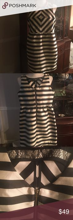DOLCE VITA STRIPED DRESS This dress is so simple and understated it's ridiculous! High quality crafted dress with beautifully striped material, slightly gathered at waist, brass, exterior, rear-zip closure. SO well made-look at the seams from the inside, and a cute lace detail inside the bust! ✨NWOT✨ Dolce Vita Dresses Mini
