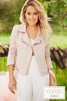 """A tough moto jacket with a feminine twist is never out of style. Layered over an all-white outfit, this little number number gives an edgy new meaning to """"pretty in pink"""". Shop the LC Lauren Conrad Runway Collection only at Kohl's."""