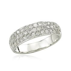 14K White Gold 3/4ct Pave Diamond Band   My Golden Rings