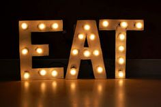 How to make vintage-y sign with cardboard letters and market lights