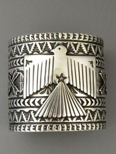 Native American Silver Thunderbird Cuff Bracelet 2 1/4 Wide by Sunshine Reeves | Native American Jewelry