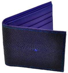 Tom Barrington Navy Blue Stingray Leather Billfold Slim Wallet, Navy Blue Leather Interior Tom Barrington. $79.95
