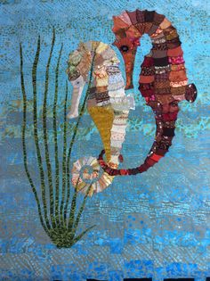 "❤ =^..^= ❤ Fabulous ""Seahorse"" quilt being made by Jane Falkous. The background is made from jelly rolls while the sea horses are the result of paper piecing. It's huge, colourful and very dramatic. I love the beading and the combination of fabrics that Jane has used including some gorgeous velvets."