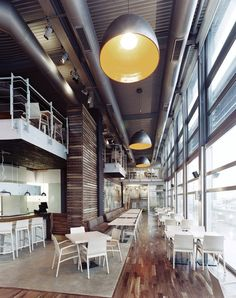 Vy Gym in Jordan by Symbiosis Designs. Gorgeous space and design design Modern Office Design, Gym Design, Cafe Design, Retail Design, Restaurant Interior Design, Cafe Interior, Commercial Design, Commercial Interiors, Café Bar