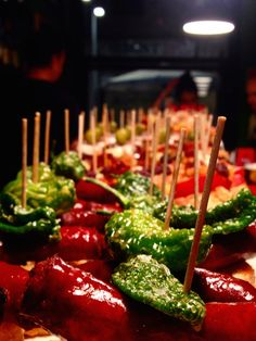 One of our favorite tapas in Barcelona are the many pintxos around town!