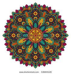 Circle mandala pattern. Vintage decorative round element. Circle ornament. East motif. Vector illustration.