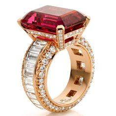 Rare vivid rubellite stone and diamond ring by Jochen Leën.