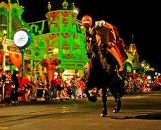 2016 Not So Scary Halloween Party, WDW  Headless Dude w/ Pumpkin in Hand Riding Galloping Horse