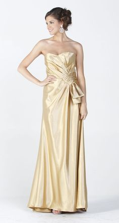 Gold Maxi Long Satin Formal Dress Classy Evening Gown Strapless $96.99