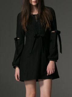 Black A-line Wool Blend Long Sleeve Mini Dress