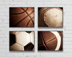 Sports decor, Teen boys room wall art, Man cave decor, Sports gifts, game room art,Set of 4 prints // Basketball, Football, Baseball, Soccer by TheArtfulElement on Etsy