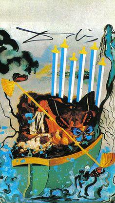 Six of Swords - Dali Universal Tarot by Rachel Pollack , Juan Llarch, Salvador Dali