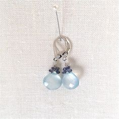 Chalcedony and Iolite Earrings Chalcedony Drop by ifanhour on Etsy