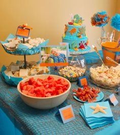 Under the Sea party - cute tissue paper idea for sandwiches can me dollar store platters!