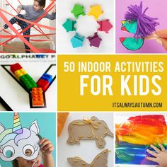 Keep your kids busy and having fun inside on rainy winter days with this selection of 50 fantastic indoor activities for kids. Crafts For Kids To Make, Crafts For Teens, Projects For Kids, Kids Diy, Diy Projects, Diy And Crafts Sewing, Easy Crafts, Easy Diy, Decor Crafts