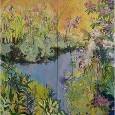 """*  Diptych acrylic painting on canvas * Size: 48""""L. x 48""""W. View all Lila Bacon paintings http://www.sweetheartgallery.com/collections/artist-lila-bacon-acrylic-floral-paintings"""