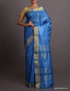 Sonal Electric Blue With Gold Border #BhagalpuriSilkSaree