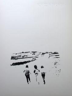 Elisa Gutiérez Goméz - Zeefdruk met borduurwerk - We're away I en II