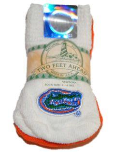 Florida Gators Two Feet Ahead Infant Baby Newborn 3 Pair Gator Head Socks Pack