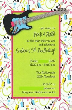 Guitar invitations. I think I'll use a design like this for menus.