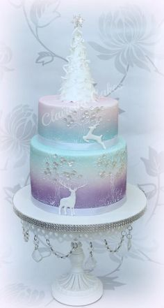 Wintery Whimisical Christmas Cake - Cake by Clairella Cakes