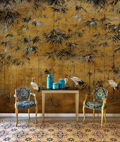 From the fantastic new range, Random Chinoiseries, the stunning Garzas mural is truly an image of beauty. Garzas meaning 'Herons' in Spanish, is a brand-new mural from the Barcelona based wallcovering company, Coordonne. Chinoiserie Wallpaper, Bird Wallpaper, Chinoiserie Chic, Print Wallpaper, Wallpaper Murals, Wall Decor Design, Asian Decor, Simple Art, Arquitetura