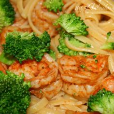 Lemon Butter Pasta with Steamed Shrimp and Broccoli