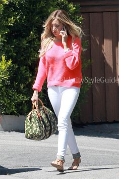 Ashley Tisdale looked cute in her Knitted Fluro Pink Crop Jumper out in Los Angeles on June 4th 2013  Outfit ID's Found At #CelebrityStyleGuide