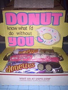 Donut know what I'd do without you small Care Package for military or college small flat rate box Care package tips tricks and ideas to get Bf Gifts, Boyfriend Gifts, Cute Gifts, Teacher Gifts, Gifts For Friends, Gifts For Him, Bestie Gifts, Boyfriend Ideas, Deployment Care Packages