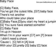 Old time song lyrics with chords for Baby Face C