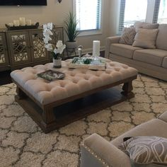 Living room decorating ideas three tips for color schemes, furniture arrangement and home decor 58 Living Room Decor Cozy, Ottoman In Living Room, My Living Room, Rustic Living Room Furniture, Tufted Ottoman Coffee Table, Ottoman Decor, Tuffed Ottoman, Fabric Coffee Table, Diy Ottoman