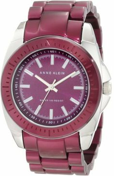 Anne Klein Women's 10/9979PRPR Purple Aluminum Bracelet Watch Anne Klein. $63.75. Purple aluminum adjustable link bracelet with deployment clasp closure. Silver-tone hour, minute and stick second hands. Purple sunray dial with white filled in silver-tone stick markers at all hours and black printed outer minute track. Polished 36 mm silver-tone case with purple aluminum bezel. Water-resistant to 30 M (99 feet)