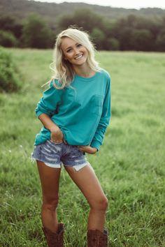 Lauren James Tee, Ripped Jean Shorts and Cowgirl Boots @LaurenJamesCo