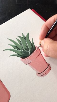 How fun is Gouache? Lil Potted Aloe Vera By Philip Boelter - fun is Gouache? Lil Potted Aloe Vera By Philip Boelter - Segelboot drucken. Art Inspo, Kunst Inspo, Inspiration Art, Gouache Painting, Painting & Drawing, Drawing Tips, Figure Drawing, Plant Drawing, Painting Videos