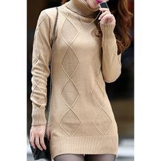 Wholesale Trendy Turtle Neck Long Sleeve Solid Color Slimming Women's Sweater Only $9.25 Drop Shipping | TrendsGal.com