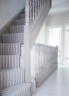 , Grey woodwork on staircase House renovations in London - Queens Park design bu. , Grey woodwork on staircase House renovations in London - Queens Park design build. House Staircase, Staircase Design, Stair Banister, Grey Hallway, Hallway Paint, Grey Woodwork, Hallway Colours, Painted Staircases, Small Room Decor