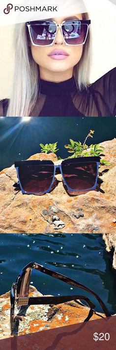 """""""Classically Chic"""" Square Cat Eye Aviators Black Silver Frame Smoke Lens ⭐️Top Rated Seller Next Day Ship⭐️ Stand out from the crowd this summer with these unique oversized designer sunnies. These beauties are sure to give that extra something to your vacation selfies!!! Last pics are actual!  UV 400 Protected Metal and Plastic Frame Frame width 149mm Lens width 60mm Frame Height 55mm Nose Bridge 17mm unbranded Accessories Sunglasses"""