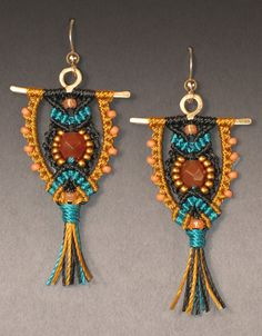macrame | Kit: Micro-Macramé Owl Earrings - Black, Teal and Gold