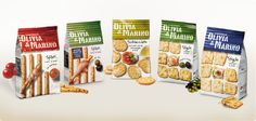To avoid becoming a mere food habit, Olivia & Marina transformed Italian staples of crackers and breadsticks into mouthwatering snacks inspired by the Italian bread tradition.    Packaging enhances the product offer and suggest different consumption moments -  features genuine ingredients and creative serving suggestions on a clean white background.