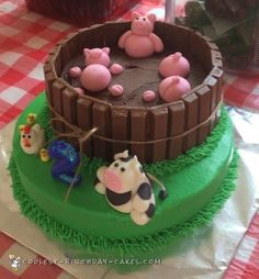 Awesome Farm Animal Cake in 2019 . Jun This farm animal cake was made for my son's birthday July The animals I made (cow, chicks/chicken, and Farm Birthday Cakes, Animal Birthday Cakes, Farm Animal Birthday, Novelty Birthday Cakes, Homemade Birthday Cakes, Birthday Cake Girls, Homemade Cakes, 2nd Birthday, Farm Animal Party