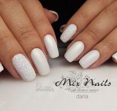 Как по мне, шикарный вариант свадебного маникюра #wedding #nails #white #blanco #boda #свадьба #маникюр