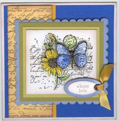 "Splitcoasters--Date: June 18, 2008:  Poster: Linwrage: Flower popped up once; the butterfly popped up twice. Image stamped on white Prism shimmer paper; Blue scalloped also Prism shimmer paper. Card measures 5 1/4"" X 5 1/4"". Edges sponged wi-Chocolate Chip. SU Stamps: Garden Collage, All Year Cheer, French Script.  Bazzill: Prism shimmer paper. Ink: Colorbox-Black, SU-Chocolate Chip. Accessories: Scallop scissors, Oval punches, large brown brad, gold ribbon, sponge. Technique: Watercoloring."