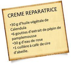 Découvrez une recette de crème réparatrice aux huiles essentielles et végétales. Eau de rose, Calendula et cire d'abeille pour cette crème réparatrice.