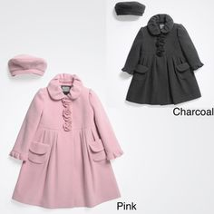 @Overstock - This sweet coat and beret set from Rothschild features rosette accents on the plackets and front and back pleating for a swishing A-line style. The coat has a matching beret to complete the look.http://www.overstock.com/Clothing-Shoes/Rothschild-Girls-Wool-Dress-Coat-with-Matching-Beret-Size-2T-6X/6816334/product.html?CID=214117 $78.99